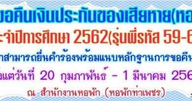 ประกาศคืนเงินประกันของเสียหายหอพักนักศึกษา ประจำปี 2563